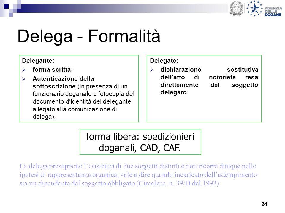 31 Delega - Formalità Delegante: forma scritta; Autenticazione della sottoscrizione (in presenza di un funzionario doganale o fotocopia del documento