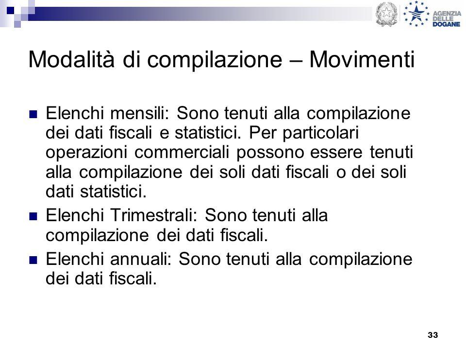 33 Modalità di compilazione – Movimenti Elenchi mensili: Sono tenuti alla compilazione dei dati fiscali e statistici. Per particolari operazioni comme