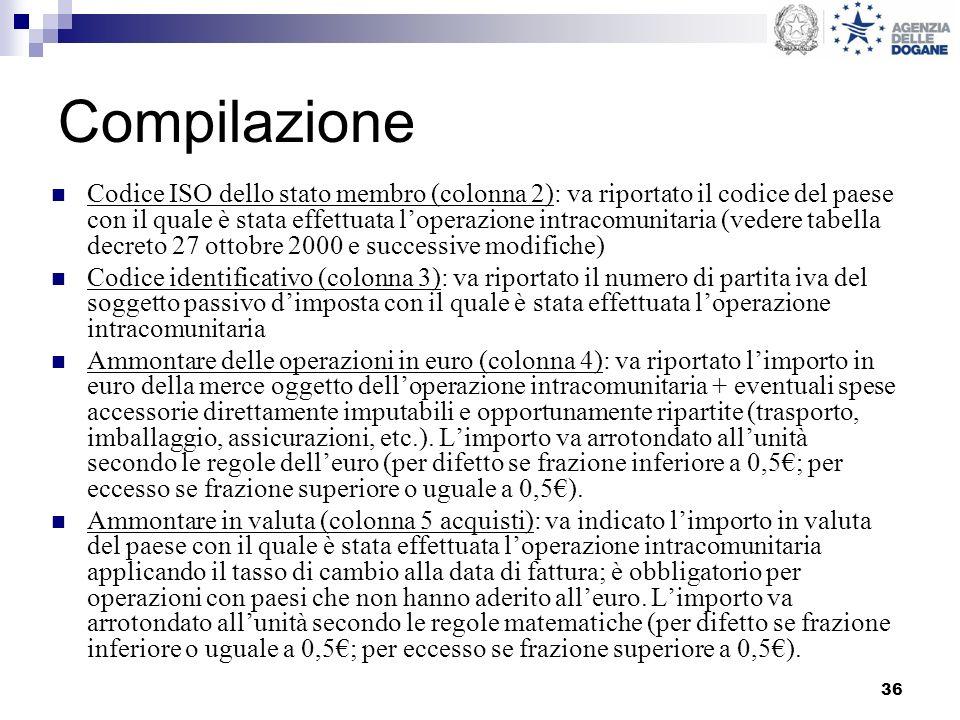 36 Compilazione Codice ISO dello stato membro (colonna 2): va riportato il codice del paese con il quale è stata effettuata loperazione intracomunitar