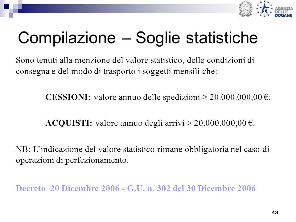 43 Compilazione – Soglie statistiche Sono tenuti alla menzione del valore statistico, delle condizioni di consegna e del modo di trasporto i soggetti