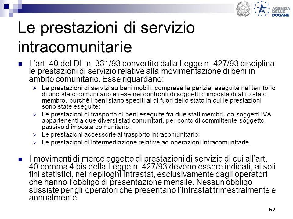 52 Le prestazioni di servizio intracomunitarie Lart. 40 del DL n. 331/93 convertito dalla Legge n. 427/93 disciplina le prestazioni di servizio relati