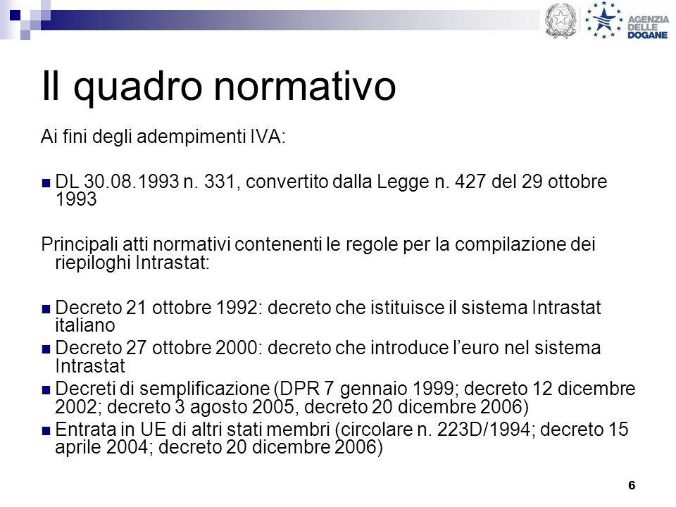 37 Compilazione Natura della transazione (colonna 5 cessioni; colonna 6 acquisti): va indicato un codice tra quelli riportati nella tabella relativa del decreto 27 ottobre 2000.