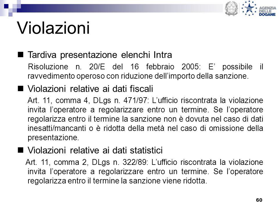 60 Violazioni Tardiva presentazione elenchi Intra Risoluzione n. 20/E del 16 febbraio 2005: E possibile il ravvedimento operoso con riduzione dellimpo