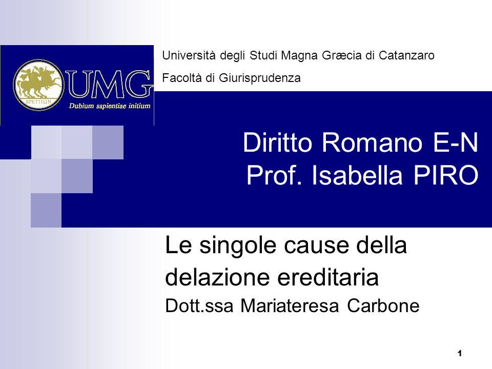 1 Diritto Romano E-N Prof. Isabella PIRO Le singole cause della delazione ereditaria Dott.ssa Mariateresa Carbone Università degli Studi Magna Græcia