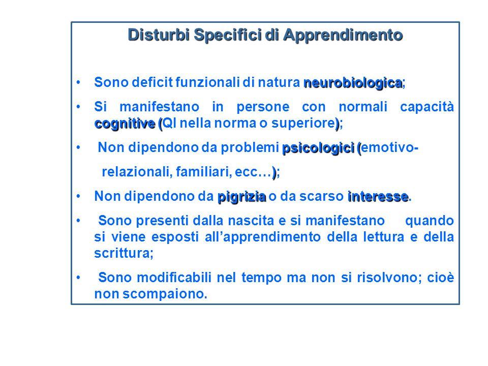 Disturbi Specifici di Apprendimento neurobiologicaSono deficit funzionali di natura neurobiologica; cognitive ()Si manifestano in persone con normali