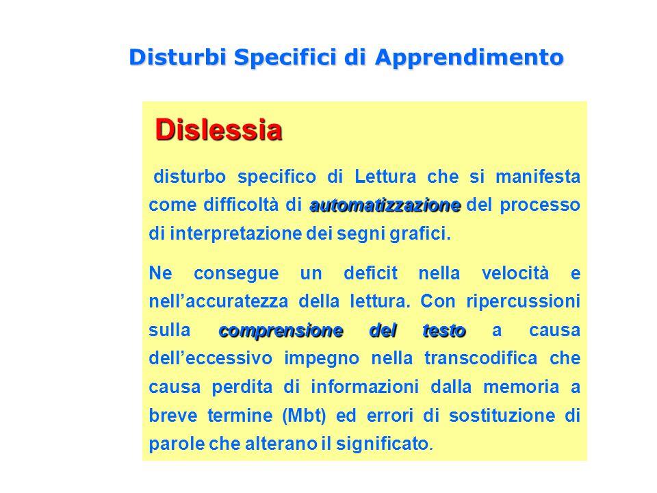 Dislessia Dislessia automatizzazione disturbo specifico di Lettura che si manifesta come difficoltà di automatizzazione del processo di interpretazion