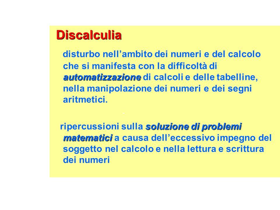 Discalculia Discalculia automatizzazione disturbo nellambito dei numeri e del calcolo che si manifesta con la difficoltà di automatizzazione di calcol