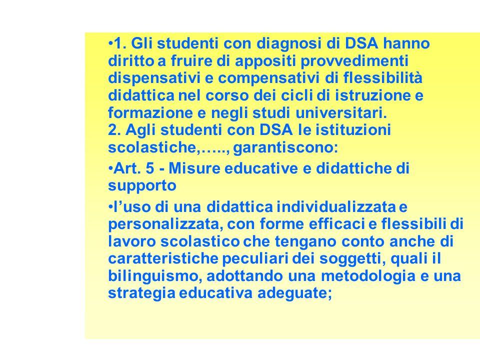 1. Gli studenti con diagnosi di DSA hanno diritto a fruire di appositi provvedimenti dispensativi e compensativi di flessibilità didattica nel corso d