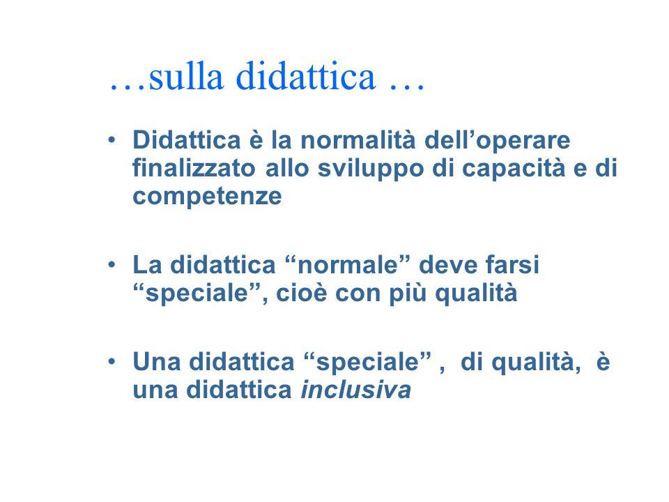 …sulla didattica … Didattica è la normalità delloperare finalizzato allo sviluppo di capacità e di competenze La didattica normale deve farsi speciale