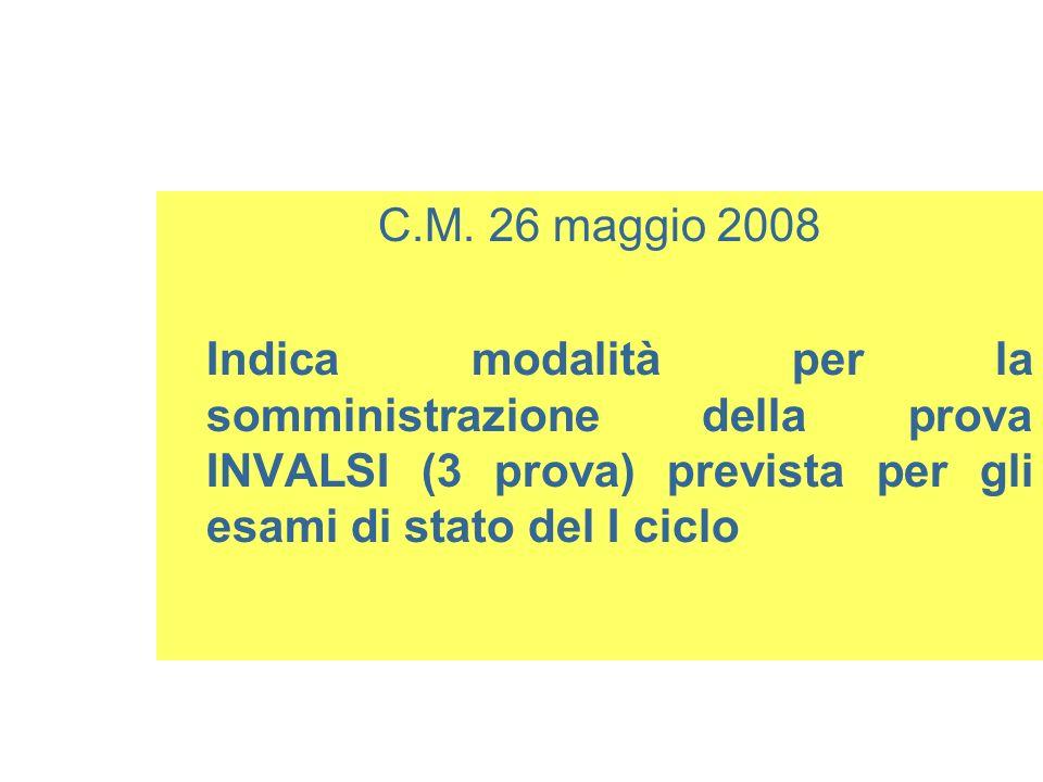 C.M. 26 maggio 2008 Indica modalità per la somministrazione della prova INVALSI (3 prova) prevista per gli esami di stato del I ciclo