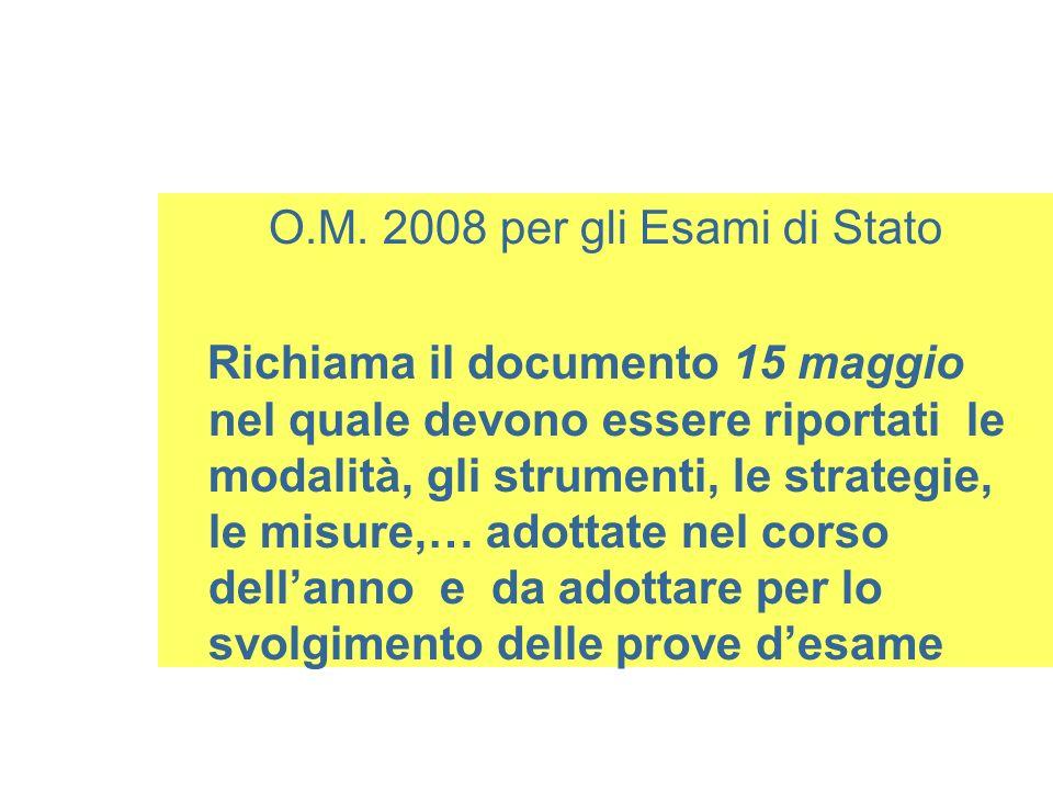 O.M. 2008 per gli Esami di Stato Richiama il documento 15 maggio nel quale devono essere riportati le modalità, gli strumenti, le strategie, le misure