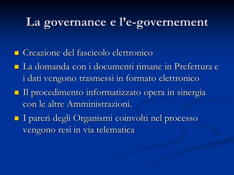 La governance e le-governement Creazione del fascicolo elettronico Creazione del fascicolo elettronico La domanda con i documenti rimane in Prefettura