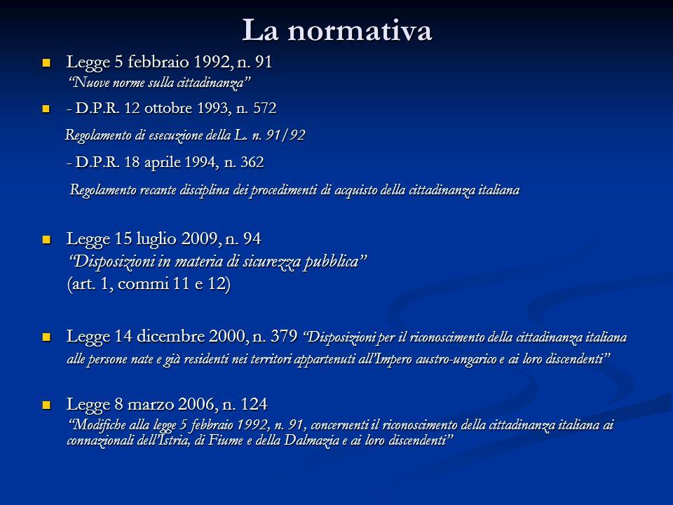 La normativa Legge 5 febbraio 1992, n. 91 Legge 5 febbraio 1992, n. 91 Nuove norme sulla cittadinanza - D.P.R. 12 ottobre 1993, n. 572 - D.P.R. 12 ott