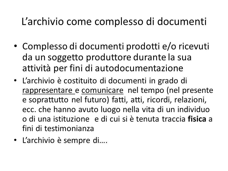 Complesso di documenti prodotti e/o ricevuti da un soggetto produttore durante la sua attività per fini di autodocumentazione Larchivio è costituito d