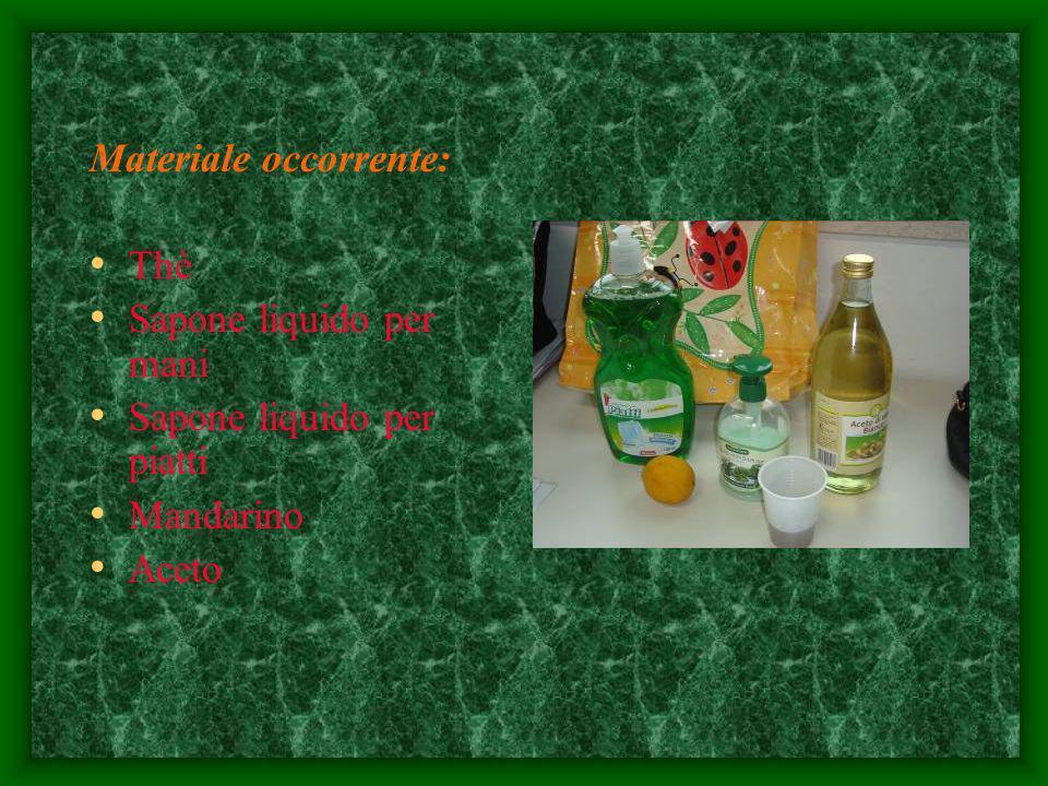 Materiale occorrente: Thè Sapone liquido per mani Sapone liquido per piatti Mandarino Aceto