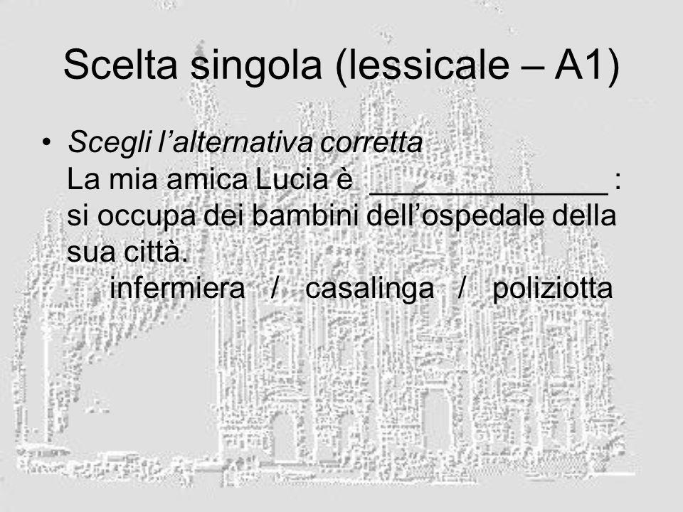 Scelta singola (lessicale – A1) Scegli lalternativa corretta La mia amica Lucia è ______________ : si occupa dei bambini dellospedale della sua città.