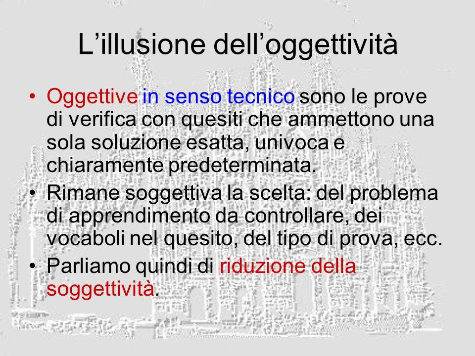Lillusione delloggettività Oggettive in senso tecnico sono le prove di verifica con quesiti che ammettono una sola soluzione esatta, univoca e chiaramente predeterminata.
