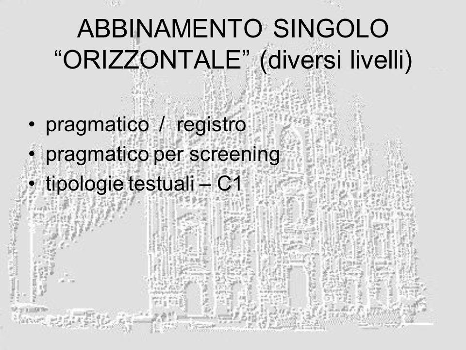 ABBINAMENTO SINGOLO ORIZZONTALE (diversi livelli) pragmatico / registro pragmatico per screening tipologie testuali – C1