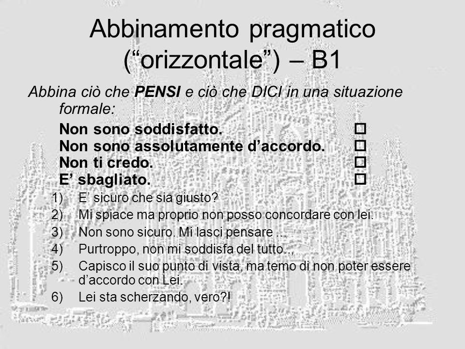 Abbinamento pragmatico (orizzontale) – B1 Abbina ciò che PENSI e ciò che DICI in una situazione formale: Non sono soddisfatto. Non sono assolutamente