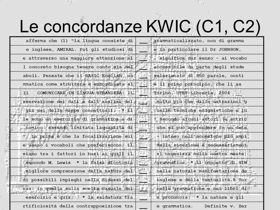 Le concordanze KWIC (C1, C2) afferma che (1) la lingua consiste di ___ grammaticalizzato, non di gramma e inglese, AMIRAL. Poi gli studiosi di ___ e i