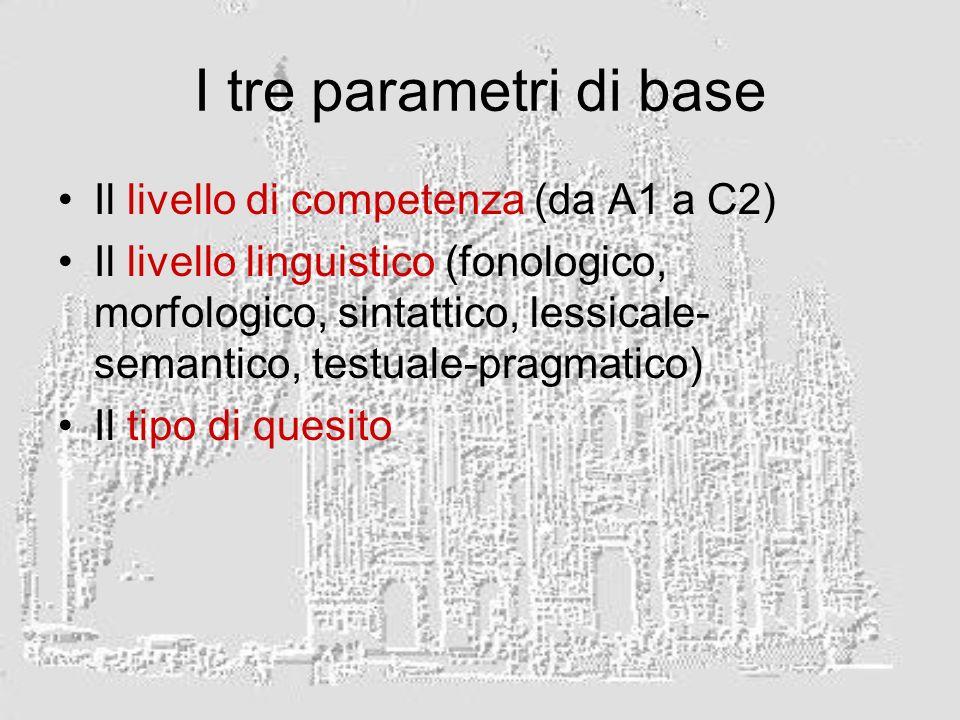 I tre parametri di base Il livello di competenza (da A1 a C2) Il livello linguistico (fonologico, morfologico, sintattico, lessicale- semantico, testu