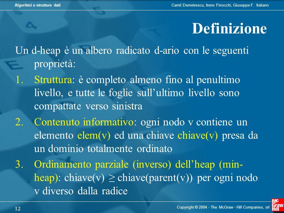 Camil Demetrescu, Irene Finocchi, Giuseppe F. ItalianoAlgoritmi e strutture dati Copyright © 2004 - The McGraw - Hill Companies, srl 12 Definizione Un