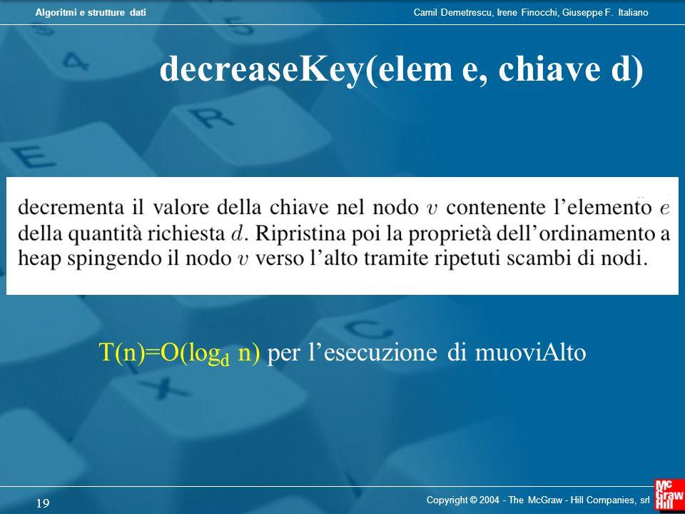 Camil Demetrescu, Irene Finocchi, Giuseppe F. ItalianoAlgoritmi e strutture dati Copyright © 2004 - The McGraw - Hill Companies, srl 19 decreaseKey(el