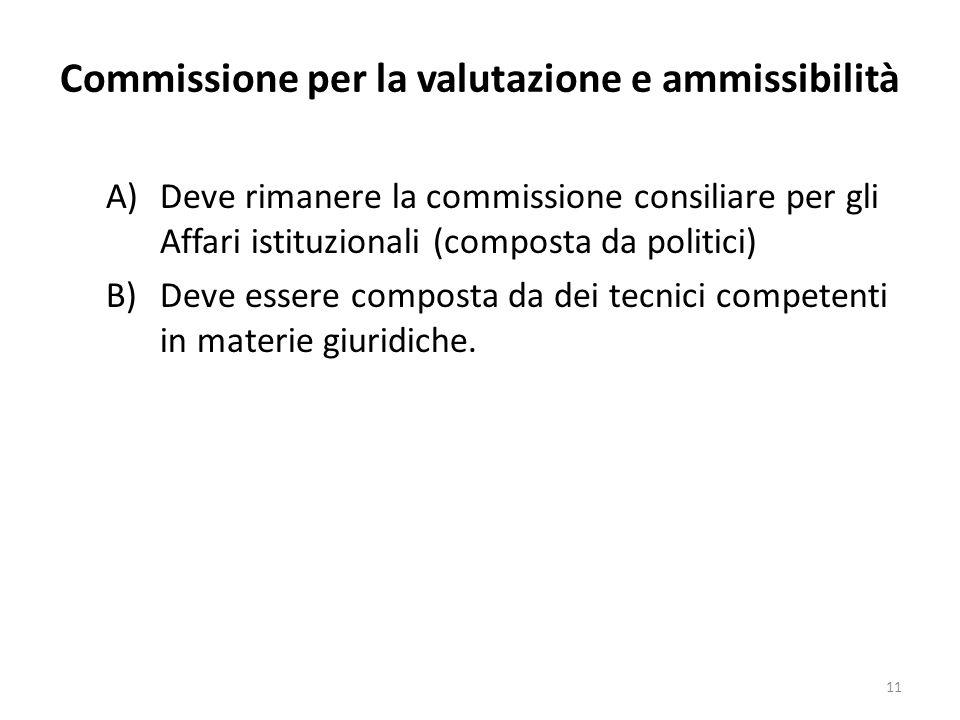 Commissione per la valutazione e ammissibilità A)Deve rimanere la commissione consiliare per gli Affari istituzionali (composta da politici) B)Deve essere composta da dei tecnici competenti in materie giuridiche.