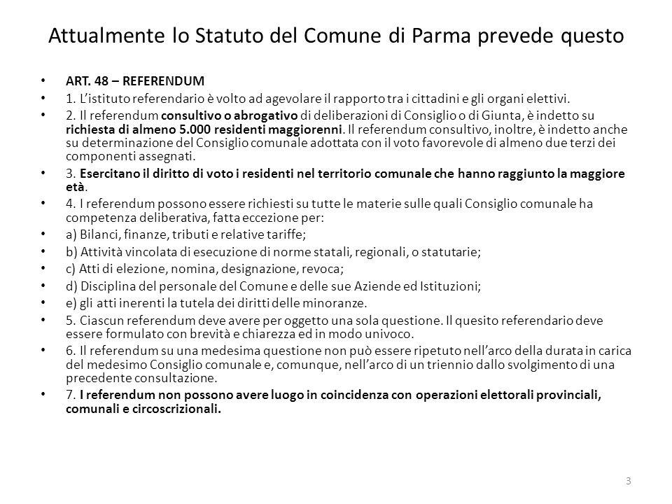 Attualmente lo Statuto del Comune di Parma prevede questo ART.