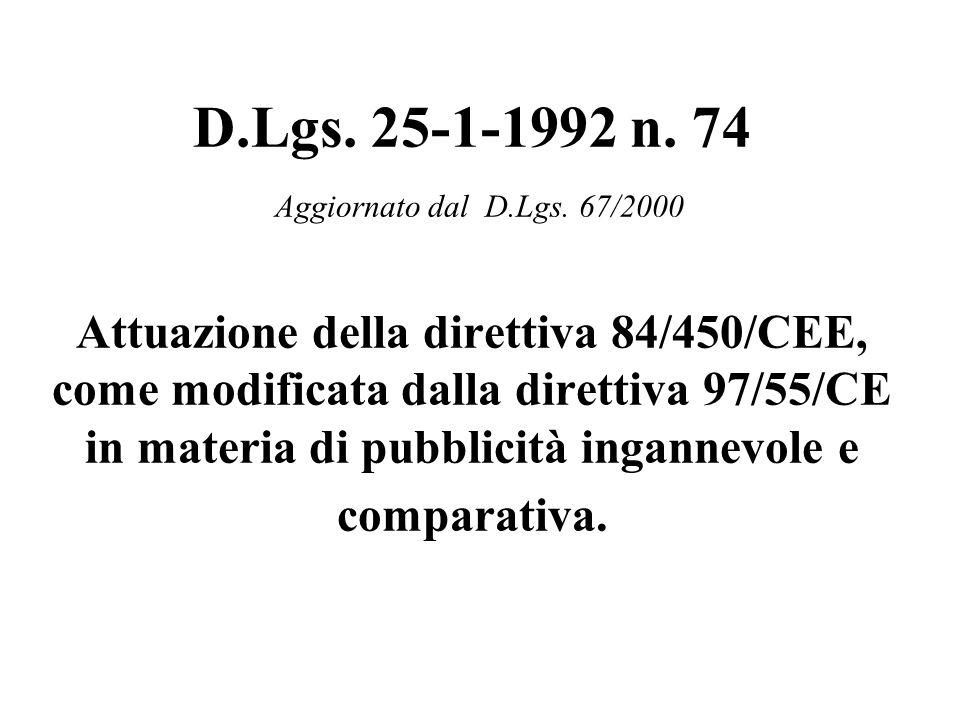 D.Lgs. 25-1-1992 n. 74 Aggiornato dal D.Lgs.
