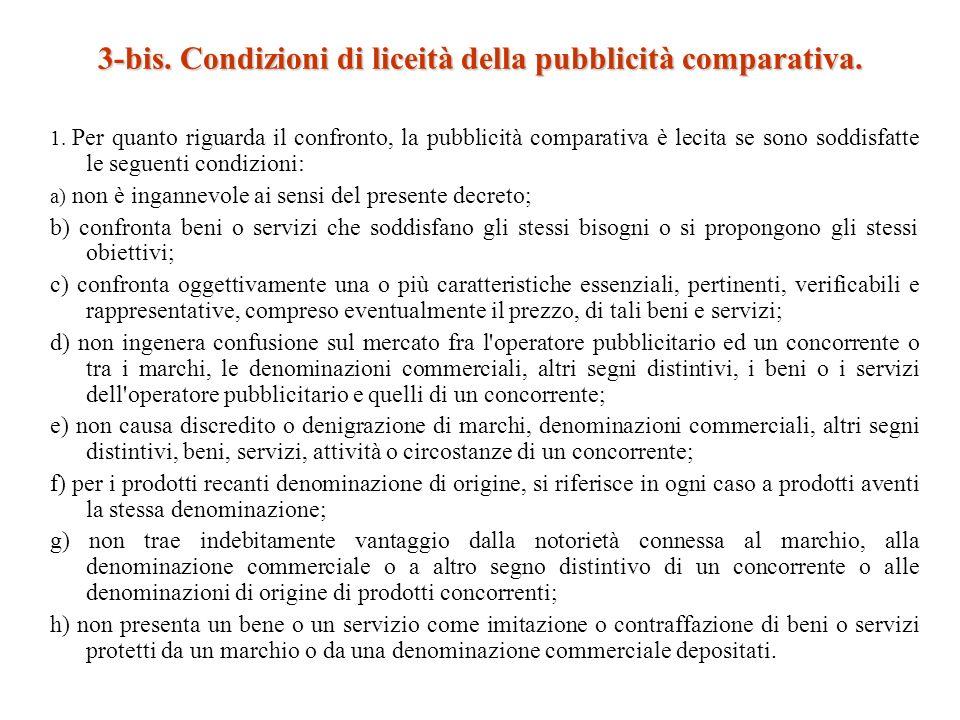 3-bis. Condizioni di liceità della pubblicità comparativa.