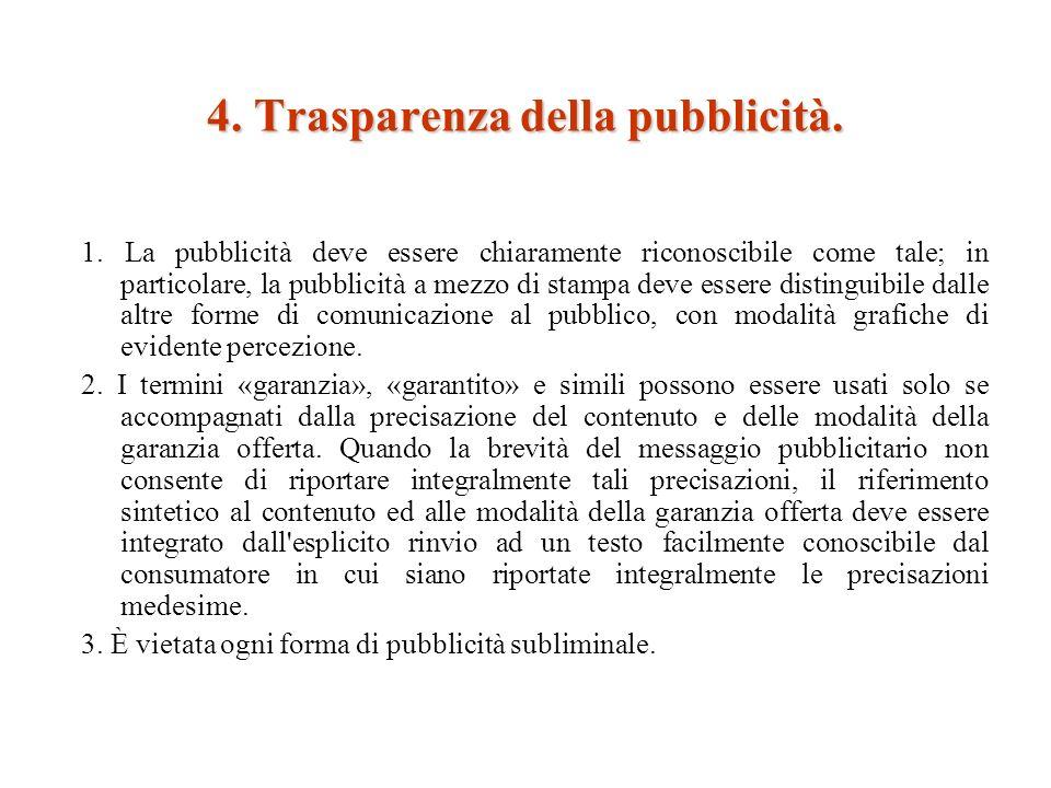4. Trasparenza della pubblicità. 1.