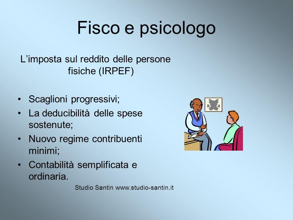 Fisco e psicologo Limposta sul reddito delle persone fisiche (IRPEF) Scaglioni progressivi; La deducibilità delle spese sostenute; Nuovo regime contri