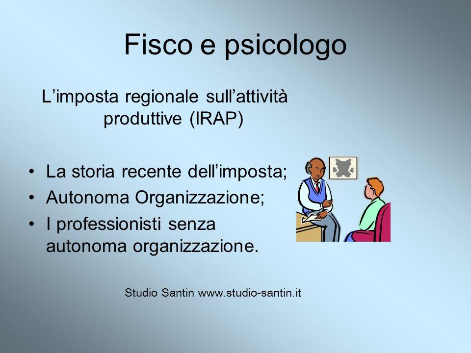 Fisco e psicologo Limposta regionale sullattività produttive (IRAP) La storia recente dellimposta; Autonoma Organizzazione; I professionisti senza aut