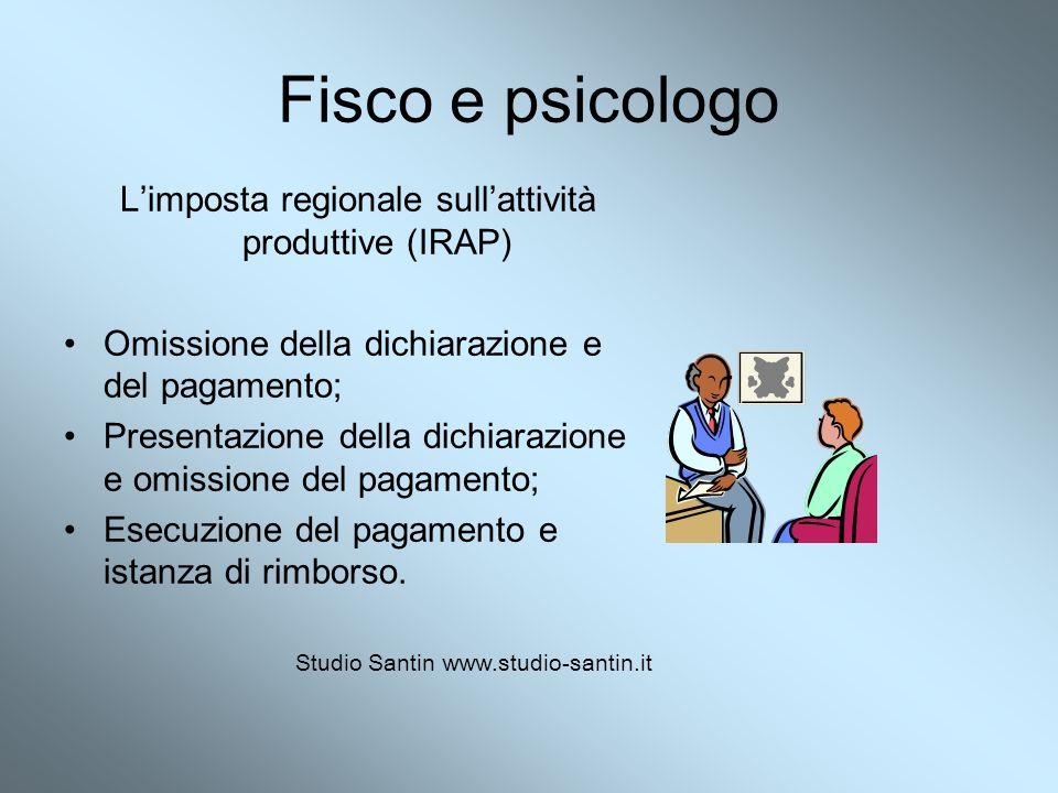 Fisco e psicologo Limposta regionale sullattività produttive (IRAP) Omissione della dichiarazione e del pagamento; Presentazione della dichiarazione e