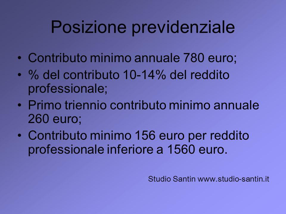 Posizione previdenziale Contributo minimo annuale 780 euro; % del contributo 10-14% del reddito professionale; Primo triennio contributo minimo annual