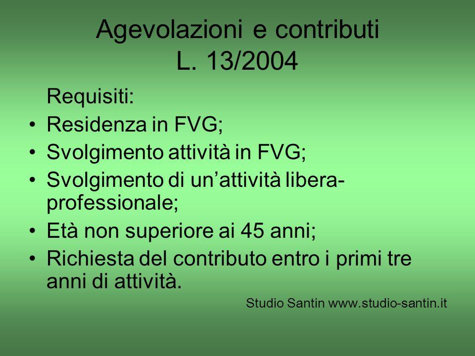 Agevolazioni e contributi L. 13/2004 Requisiti: Residenza in FVG; Svolgimento attività in FVG; Svolgimento di unattività libera- professionale; Età no