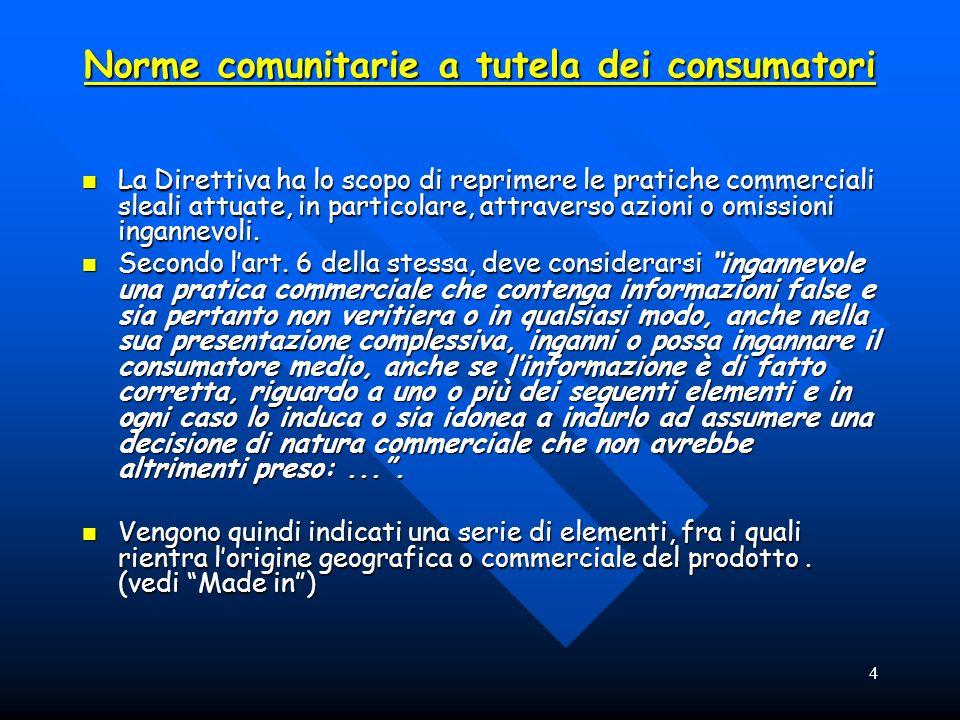 4 Norme comunitarie a tutela dei consumatori La Direttiva ha lo scopo di reprimere le pratiche commerciali sleali attuate, in particolare, attraverso azioni o omissioni ingannevoli.