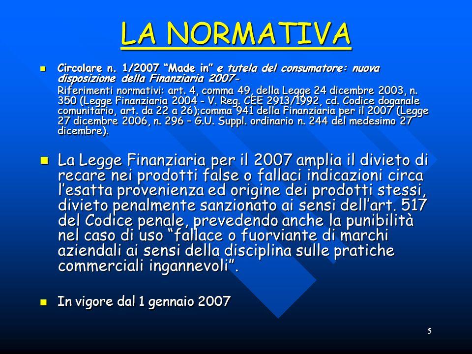 6 Circolare n.1/2007 Made in Riferimenti normativi Lart.