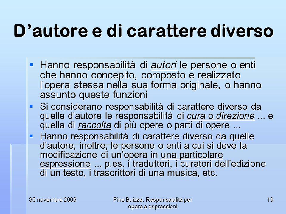 30 novembre 2006Pino Buizza. Responsabilità per opere e espressioni 10 Dautore e di carattere diverso Hanno responsabilità di autori le persone o enti