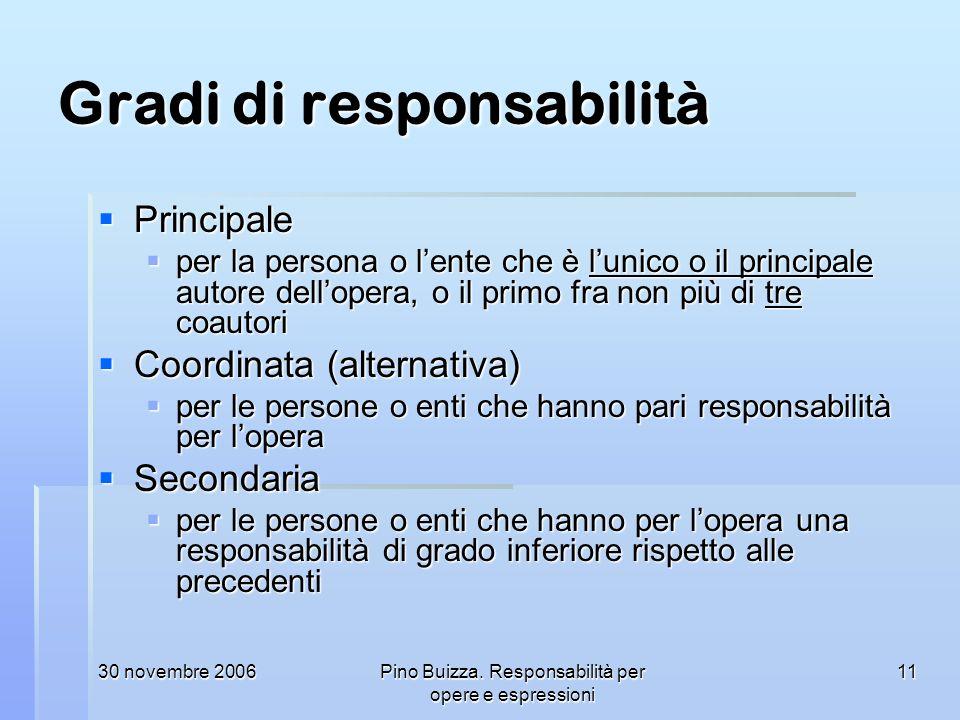 30 novembre 2006Pino Buizza. Responsabilità per opere e espressioni 11 Gradi di responsabilità Principale Principale per la persona o lente che è luni