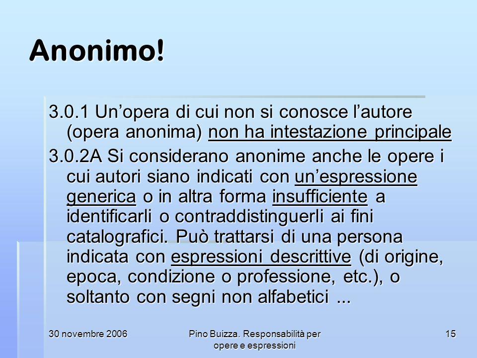 30 novembre 2006Pino Buizza. Responsabilità per opere e espressioni 15 Anonimo! 3.0.1 Unopera di cui non si conosce lautore (opera anonima) non ha int