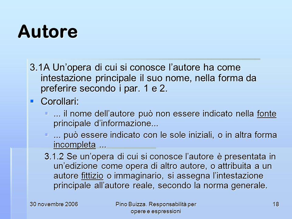 30 novembre 2006Pino Buizza. Responsabilità per opere e espressioni 18 Autore 3.1A Unopera di cui si conosce lautore ha come intestazione principale i