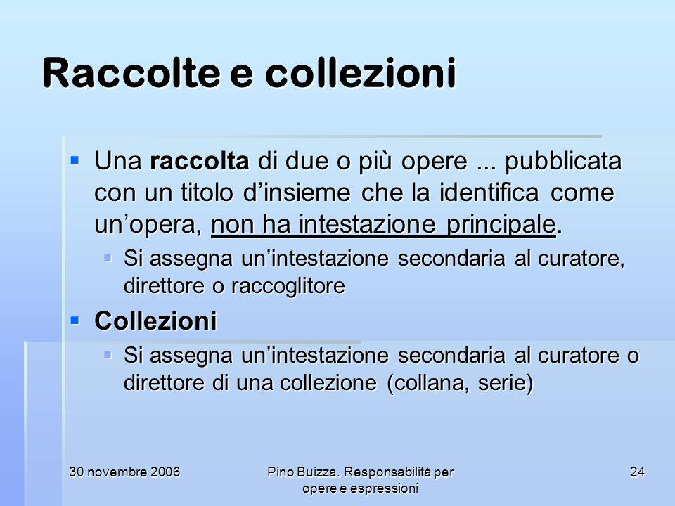 30 novembre 2006Pino Buizza. Responsabilità per opere e espressioni 24 Raccolte e collezioni Una raccolta di due o più opere... pubblicata con un tito