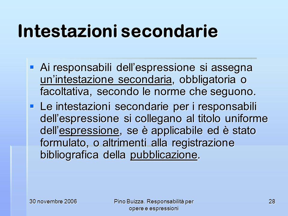 30 novembre 2006Pino Buizza. Responsabilità per opere e espressioni 28 Intestazioni secondarie Ai responsabili dellespressione si assegna unintestazio