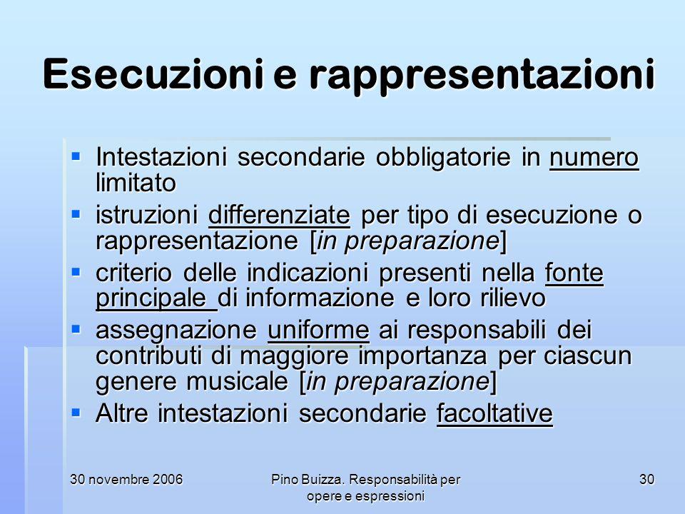 30 novembre 2006Pino Buizza. Responsabilità per opere e espressioni 30 Esecuzioni e rappresentazioni Intestazioni secondarie obbligatorie in numero li