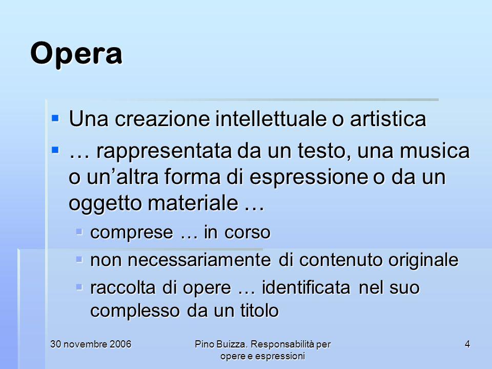 30 novembre 2006Pino Buizza. Responsabilità per opere e espressioni 4 Opera Una creazione intellettuale o artistica Una creazione intellettuale o arti