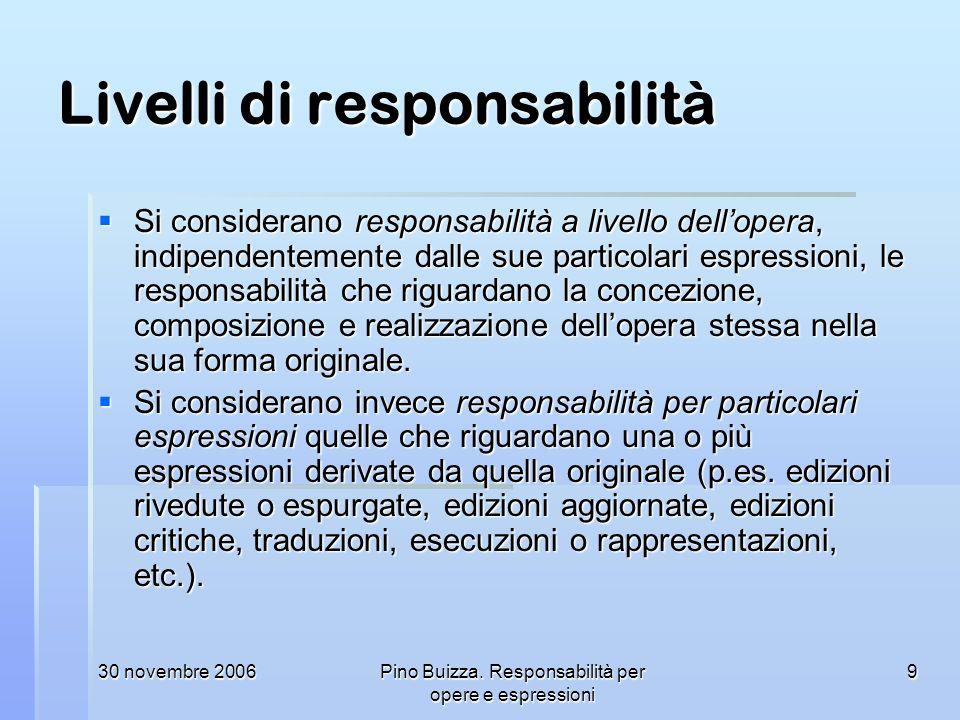 30 novembre 2006Pino Buizza. Responsabilità per opere e espressioni 9 Livelli di responsabilità Si considerano responsabilità a livello dellopera, ind