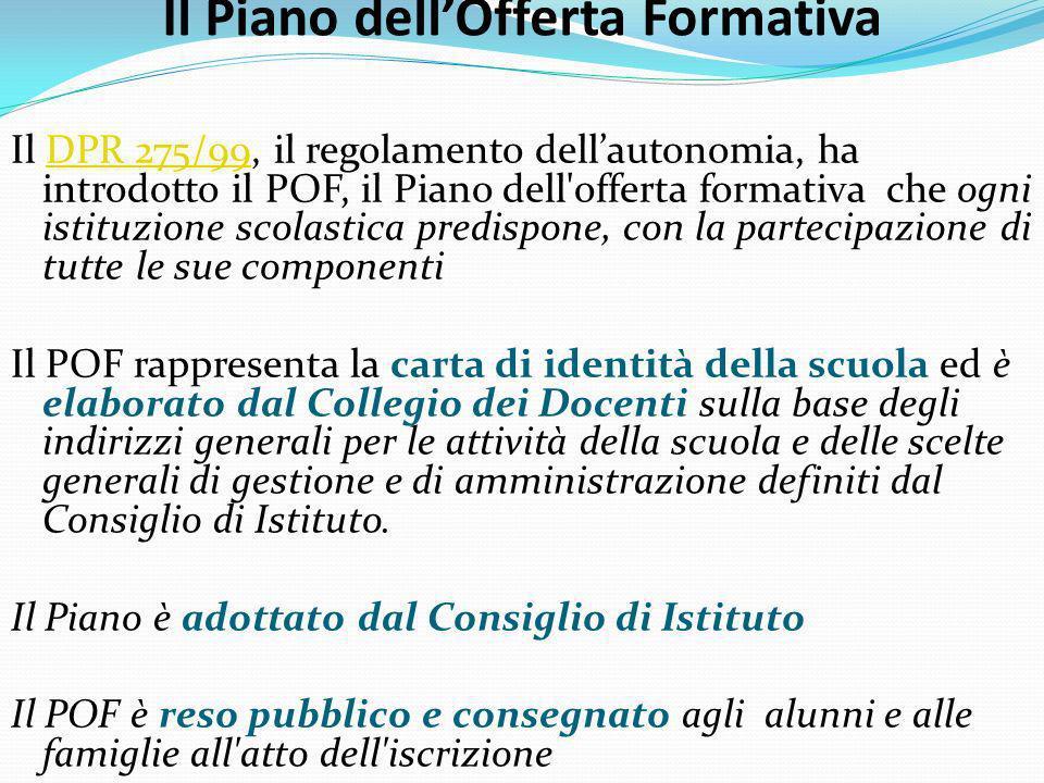 Il Piano dellOfferta Formativa Il DPR 275/99, il regolamento dellautonomia, ha introdotto il POF, il Piano dell'offerta formativa che ogni istituzione