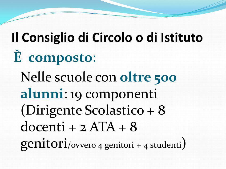 Il Consiglio di Circolo o di Istituto È composto: Nelle scuole con oltre 500 alunni: 19 componenti (Dirigente Scolastico + 8 docenti + 2 ATA + 8 genit